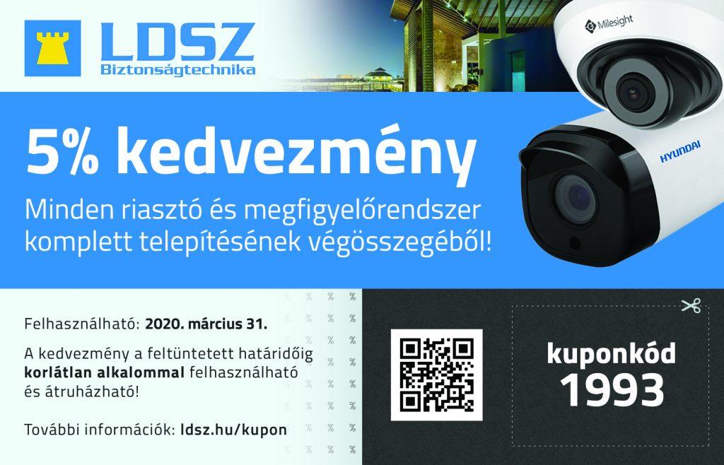 LDSZ 5%-os kupon kedvezmény kamerás minden kamerás megfigyelőrendszer és riasztórendszer végösszegéből! A kuponkód 1993